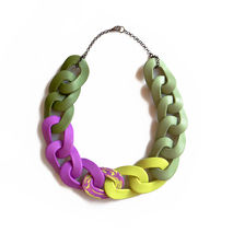 Chain Link Statement Necklace in Purple and Green