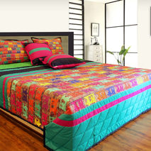 Vibrant Taxi's King Size Quilted Bedspread (Set of 5 Pcs)