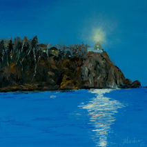 Painting of night lake and lighthouse under the moon, moonlight