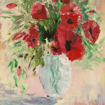 Poppies in vase oil painting, red flowers art,  floral textured