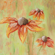 original oil painting of echinacea orange flowers floral texture