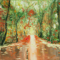 rainy alley original oil painting fall forest water reflection g