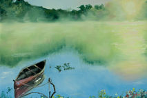 Giclee print of canoe on a foggy lake, water reflections of tree