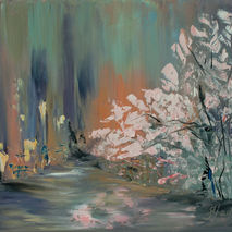 abstract original oil painting pink flowering tree flowers  flor