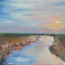 Abstract oil painting of river in the field , original art of la