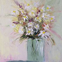 original oil painting signed daisies flowers floral textured hom