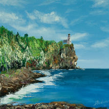 Oil painting of lake and lighthouse on the rocks, original art o
