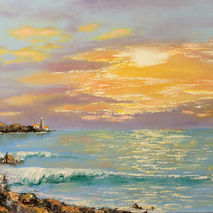 lighthouse seascape ocean sea oil painting signed giclee PRINT b