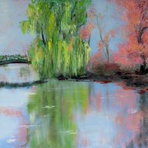 willow lake bridge reflection landscape oil painting giclee PRIN