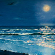 Seascape oil painting of night sea under the moonlight, original