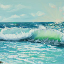 Seascape painting of wavy ocean ,oiginal oil painting of the sea