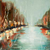 Rain street city, abstract citysape oil painting, night water re