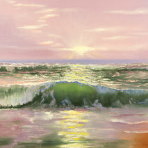 Seascape painting giclee PRINT, oceanscape, ocean wave, purple s