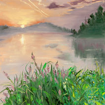 original oil painting signed lake sunset water reflection flower