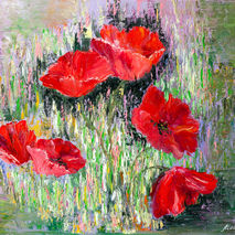 Red poppies painting, floral oil painting on canvas,abstract flo
