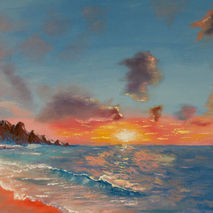original oil painting signed sea ocean sun sunset sunrise sky te