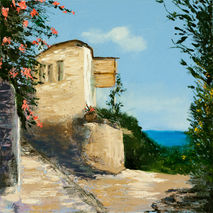 original oil painting signed seaside home house sea flowers flor