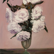 original oil painting signed white roses floral thick vase purpl