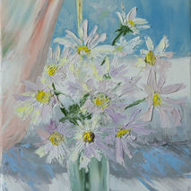 signed daisies flowers floral textured original oil painting hom