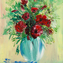 poppies in vase flowers original oil painting signed floral text