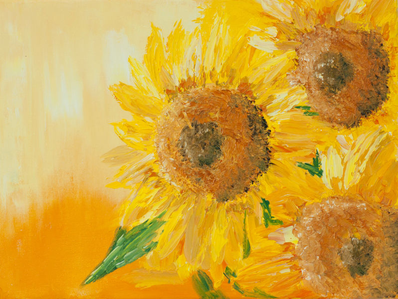 Modern Yellow Floral Oil Painting On Canvas Abstract