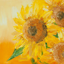 Modern yellow floral oil painting on canvas, abstract sunflowers