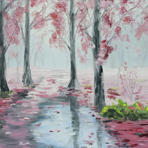 Original oil painting of pink fall forest on a rainy day, water