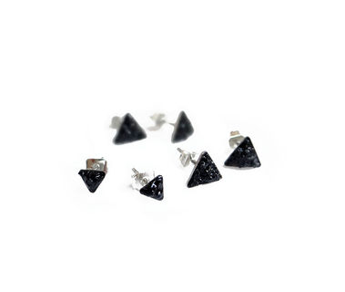 a5ed17fbc Black Tourmaline Stud Earrings, Minimal Triangle Earrings ...