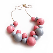 Bubble Statement Necklace, Pink Gray Pastel Necklaec