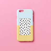 iPhone case - Pastel blue yellow black dot, non-glossy M05