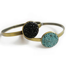 Gemstone Boho Bangle, Black Tourmaline or Turquoise Bracelet