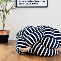 Knot Floor Cushion (Black and White Stripes)