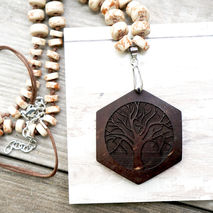HEXAGON YOGA TREE CARVED NECKLACE