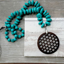 BEEHIVE PENDANT ON 24 IN TURQUOISE BEADED CORD