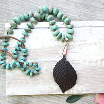 CARVED COCONUT LEAF NECKLACE