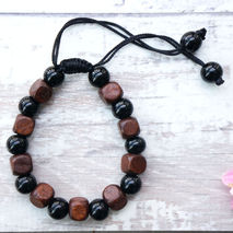 BLACK & WOOD BEAD TIE BRACELET