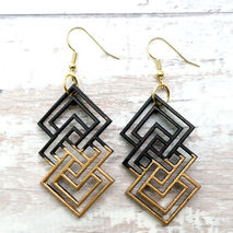 GEOMETRIC UNITY DIPPED GOLD EARRINGS