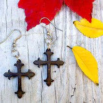 WOODEN CROSS EARRINGS