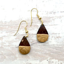 DIPPED COCONUT GOLD TEAR DROP EARRINGS