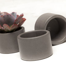Concrete Planter Set - 3 ea. in Graphite (dark grey)