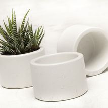 Concrete Planter Set - 3 ea. in White