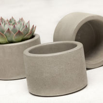 Concrete Planter Set - 3 ea. in Natural Grey