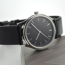 Minimalist Watch with thin stripes Black face Free shipping