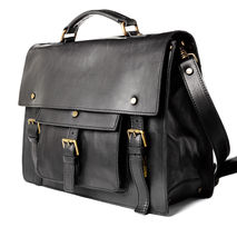 Handmade leather satchel briefcase- Black
