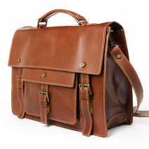 handmade leather satchel briefcase - brown