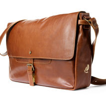 handmade leather messenger - brown