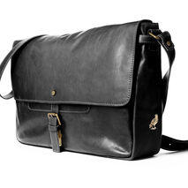 handmade leather messenger - black