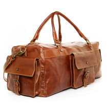 handmade leather carry-on duffel bag - brown