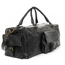 handmade leather carry-on duffel bag - black