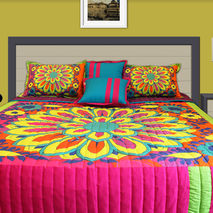 Big Flower Motif King Size Quilted Bedspread